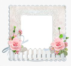 Transparent Frame with Fence and Roses.