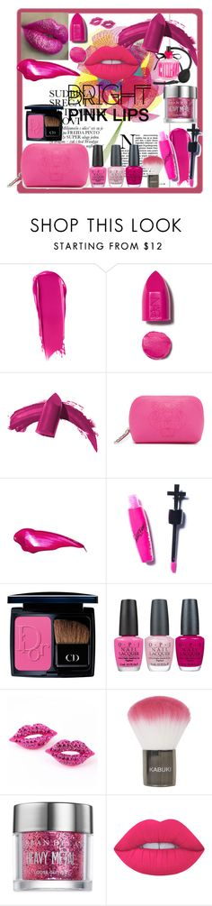 """Bright Pink Lipstick"" by xrosswag ❤ liked on Polyvore featuring beauty, NARS Cosmetics, Elizabeth Arden, Kenzo, Manic Panic, Christian Dior, OPI, Topshop, Urban Decay and Lime Crime"