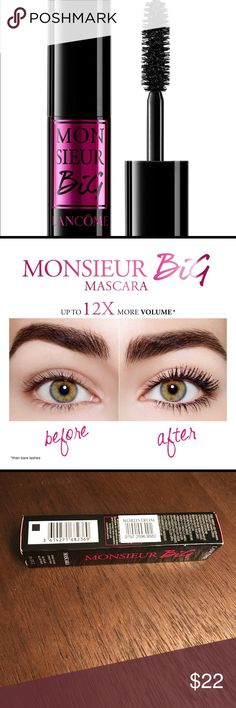 Monsieur big mascara Lancôme new in box New in box. Receipt included. Reviews from Nordstrom's! Amazing! Retails 25$ plus tax Lancome Makeup Mascara