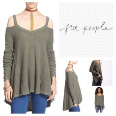 "Free People Fatigue Shoulder Cutout Tunic.  NWT. Free People Fatigue (Olive Green) Shoulder Cut Out Tunic, 100% cotton, machine washable, 22.5"" armpit to armpit (45"" all around), 24"" arm inseam, 26"" front length, 32"" back length, ribbed V neck, gathered at wrist, honey-comb textured, unfinished trim, oversized, effortless fit, high low hem, raw seams, measurements are approx.  No Trades... Free People Tops"