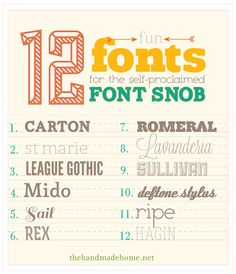 12 Fun Fonts for the self-proclaimed Font Snob