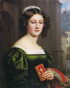 """Anna Hillmayer was one of the 36 beauties in the """"Gallery of Beauty"""" of Ludwig I of Bavaria. She was the daughter of a Munich game meat dealer. She died at the age of 35 on her birthday and was still unmarried. In the portrait she is wearing the traditional Munich headdress standing in front of the Munich Frauenkirche with a prayer book in her hand. Her piousness has been symbolized here.  #Oilpainting, #Painting"""