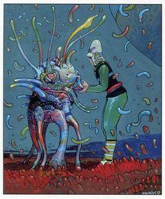Digitally enhanced title page art for Moebius: Fusion artbook. Jean Giraud, Moebius Art, Jordi Bernet, 70s Sci Fi Art, Ligne Claire, Science Fiction Art, Fantasy Illustration, Art Graphique, Illustrations