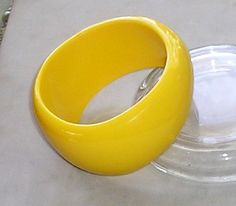 Chunky Asymetrical Lucite Bangle in Sunny Yellow 80s #Unbranded #Bangle