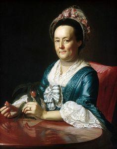 John Singleton Copley -- Mrs. Winthrop, 1773 -- note red and white striped ribbon trim on cap