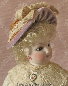 FRENCH FASHION DOLL~Bonnet or Hat~Antique Velvet and Lace~Artist Made | eBay