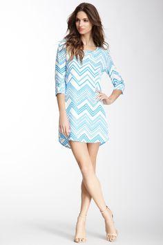 Zigzag Print Shift Dress