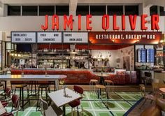 Jamie Oliver | Gatwick Airport –take on classic diner/fast food signage