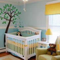 Baby Girl - Boy Nursery So Easy and Cute With Simple  Dual Shae Blue Walls and Decal , Bedding and all Other Pieces, & Fabrics in Green Blue Yellow and Creams