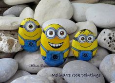 Hand Painted Stone with Minion by MelindaRockPaintings on Etsy