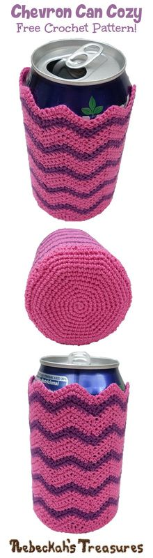 Chevron Soda Can Cozy FREE crochet pattern via A delightful project that protects your surfaces from perspiration and your hands from the cold! Crochet Coffee Cozy, Crochet Cozy, Crochet Gratis, Cute Crochet, Crotchet, Knitting Patterns, Crochet Patterns, Knitting Ideas, Crochet Ideas