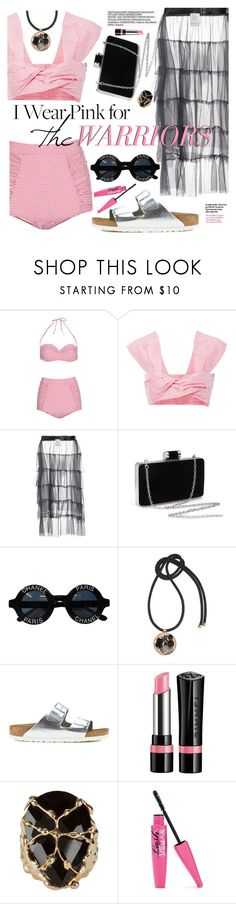 """The Pink Warriors"" by ivansyd ❤ liked on Polyvore featuring Pistol Panties, Paper London, Area Di Barbara Bologna, Chanel, Marni, Birkenstock, Rimmel, Rosantica and IWearPinkFor"