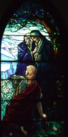 Easter Morn Windows, right by Tiffany Studios Stained Glass Church, Stained Glass Art, Stained Glass Windows, Mosaic Glass, Tiffany Stained Glass, Tiffany Glass, Church Windows, Les Religions, Stained Glass Designs