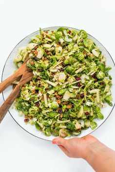 Perfect for fall and holidays, this delicious Waldorf Brussels Sprout Salad recipe is made with apples, cranberries, Brussels sprouts, and pancetta. Sprout Recipes, Easy Salad Recipes, Easy Salads, Side Dish Recipes, Dinner Recipes, Healthy Recipes, Meatless Recipes, Yummy Recipes, Free Recipes
