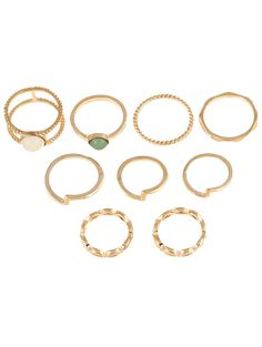 9 PCS Fake Gem Gold Plated Rings Suit #jewelry, #women, #men, #hats, #watches, #belts