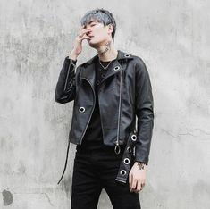 Personalized motorcycle mens leather jacket slim oblique zipper coat men rivet jackets street rock fashion spring autumn black