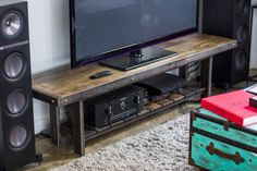 Television Stand Living Room, Industrial Chic Television Stand, Table, Reclaimed…