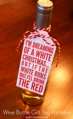 Free Printable Wine Bottle Gift Tag sure to bring a smile to the hostess! | OHMY-CREATIVE.COM