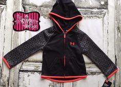 Under Armour Girls Black with Neon Orange Zip Up Jacket Size 2T-6x