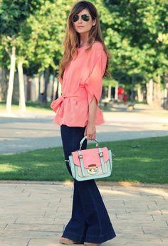 Coral shirt & flare legs ♡