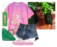 """Fresh Asl"" by bk2cb ❤ liked on Polyvore featuring Balenciaga, Levi's, Puma, Rihanna, puma and fenty"