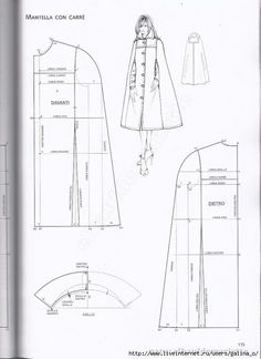 Coat Patterns, Dress Sewing Patterns, Sewing Patterns Free, Clothing Patterns, Cape Pattern, Gown Pattern, Japanese Sewing Patterns, Sewing Blouses, Fashion Sewing