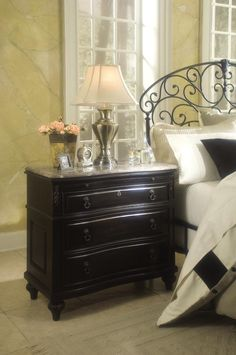 Instead of a nightstand we will be getting the bachelor chests with the marble top. They are bigger than a nightstand and smaller than a traditional dresser.