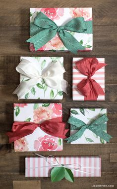 Free Printable: floral watercolor gift wrap