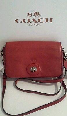 NWT COACH TURN LOCK BLEECKER PENNY LEATHER CROSSBODY HANDBAG 32261 RED DUST BAG.