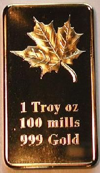 1 OUNCE GOLD MAPLE LEAF CLAD ART BAR .999 PURE GOLD FREE S&H (1)