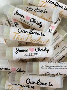 FREE Ship. 50 Personalized Lip Balms. 21 Scents. Bulk Wedding Favors. Bridal Shower. Bachelorette. Sensibly Posh. Party Favors.