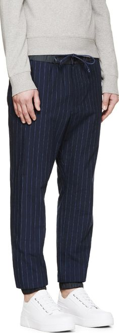 Sacai Navy & Black Pinstriped Trousers