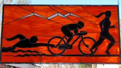 Tri-athlete Stained Glass Art