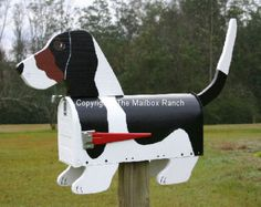 Unique Tri-Color Basset Hound Mailbox made by The Mailbox Ranch