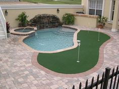 My dream backyard natural stone patio golf putting green - How to put hot water in a swimming pool ...