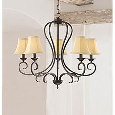 Iron chandelier features curved arms   Light fixture also has an ironwood finish   Five-light hanging lamp showcases beige color fabric shades   Chain length is 40 inches   Requires five (5) 60-watt candelabra bulbs (not included)   This fixture needs to be hard wired. Professional installation is recommended.   Dimensions:29 in. W x 24.5 in. H  Materials:iron frame with fabric shades  Model No:B281   $110.19