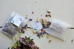 Dried flower petals - a wedding confetti alternative. I'll bet you can get them from flower shops that were going to throw them away anyway.