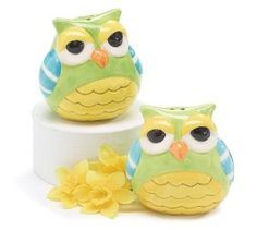 Whimsical Owl Salt and Pepper Shakers These owls might look bored but they brighten up your table. They have been hand painted and made of ceramic. http://theceramicchefknives.com/owl-salt-and-pepper-shakers/  baby shower favors, Big Sky Carvers Owl salt and pepper shakers, Cozy Owls Magnetic Ceramic Salt and Pepper Shaker Set, Cozy Owls Magnetic Salt and Pepper Shaker Set, Grasslands Road Owl in Tree Magnetic Salt and Pepper Shaker Set