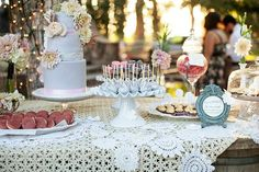 Vintage cake and dessert display from outdoor wedding ideas done here at The Walnut Grove in Moorpark, Ventura County www.walnutgroveweddings.com