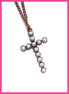 Bronze & Faux Pearl Cross Necklace £5