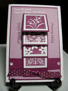 Mostly Flowers Razzleberry Waterfall by fauxme - Cards and Paper Crafts at Splitcoaststampers Fun Fold Cards, Folded Cards, Diy Cards, Your Cards, Birthday Cards For Women, It's Your Birthday, 13th Birthday, Homemade Greeting Cards, Homemade Cards