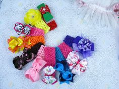 Lot 10 baby girl boutique cute mixed hair bows with 10 crochet headbands M4 #MyOwnUniqueDesign