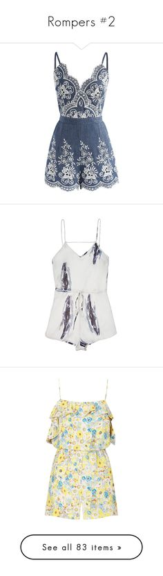 """""""Rompers #2"""" by asiebenthaler ❤ liked on Polyvore featuring jumpsuits, rompers, dresses, jumpsuit, playsuit, macacão, blue, blue camisole, denim rompers and blue cami"""