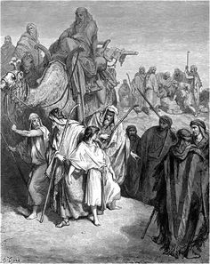 Joseph Sold by his brothers into slavery to Egypt, Old Testament Stock Photo Gustave Dore, Bible Illustrations, Illustration Art, Joseph, Saint Dominique, La Sainte Bible, Church Pictures, Bible Pictures, Art Through The Ages