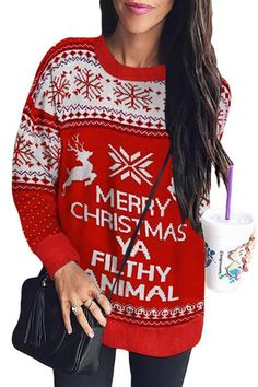 RedBrowm Womens Christmas Letter Print O-Neck Long Sleeve Pullover Shirts Tops Blouse