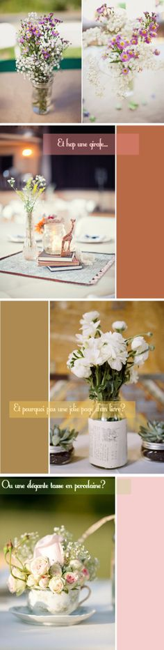 centres de table mariage minis bouquets de fleurs