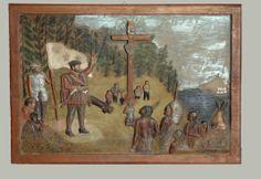 Sulpture  de Jacques Cartier realisée par Elzéar Roy de Pointe -Frégate. Jacques Cartier, Wood Crafts, Nativity, Folk Art, 3 D, Native American, Painting, Popular Art, Native Americans