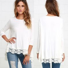 Charm Women's Long Sleeve Shirts Casual Lace Tops Blouses Fashion T-Shirts