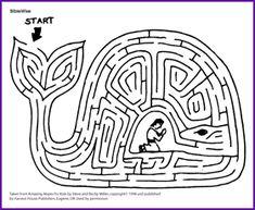 Maze a Story, Jonáš a velká ryba - Kids Korner - BibleWise Bible Story Crafts, Bible Crafts For Kids, Bible Study For Kids, Bible Lessons For Kids, Bible Stories, Sunday School Projects, Sunday School Activities, Bible Activities, Sunday School Lessons