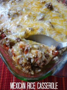 Mexican Rice Casserole spicy tomatoes, taco flavoring, hamburger and rice make up this easy and family favorite casserole. With melted cheese on top, it is sure to be enjoyed.